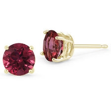 0.20 - 4.00 CARAT 14K SOLID YELLOW GOLD RUBY ROUND SHAPE STUD EARRINGS PUSH BACK