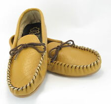 Men Leather Hand Made Casual Moccs Moccasins Slippers Shoes Brown Sizes 7-14