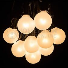 25 Foot Outdoor Globe Patio String Lights - Set of 25 G40 White Pearl Bulbs