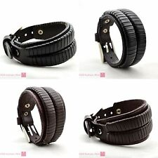 2 Layer Wrap Leather Buckle Bracelet Belt Wristband Bangle Cuff Gothic Punk Gift