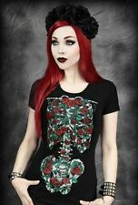 Restyle Blooming Roses Ribcage Emo Gothic Psychobilly Ladies T Shirt Top
