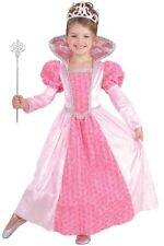 Girls Pink Princess Costume Long Fancy Dress Gown Victorian Rose Childs Kids NEW