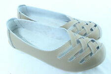 Women Comfortable Genuine Soft Leather Flats Casual Work Ballet Shoes BEIGE