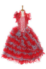 New Girl Glitz Pageant Party Wedding Ruffled Dress Bolero Red/Silver2 4 6 8 1012