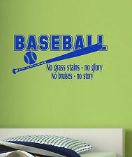 Baseball No Glory No Story Vinyl Wall Decal Sports Quote Kids Room Decor NEW
