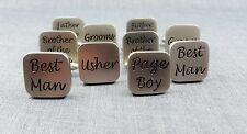 SILVER SQUARE WEDDING ROLE CUFFLINKS SET BEST MAN,GROOM,USHER,BRIDES FATHER,GIFT