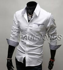 Luxury Men Formal Business Leisure Long Sleeve Button Design Dress Shirt Top Tee