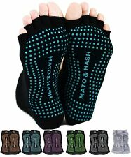 "Mato & Hash Toeless Exercise ""Barefoot Feel"" Yoga Half Toe Socks With Full Grip"