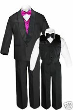 Boys Satin Shawl Lapel Suits Tuxedo EXTRA Fuchsia Pink Bow Tie Vest Outfits S-18