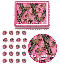 PINK MOSSY OAK CAMO Edible Cake Topper Cupcake Birthday Party  Decoration