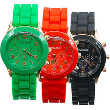 Unisex Succinct Sleek Geneva Silicone Jelly Gel Quartz Analog Sports Wrist Watch
