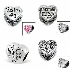 925 Sterling Silver Solid Charm Beads European Bracelets - 3D Heart Plaques