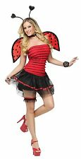 Womens Ladybug Costume Halloween Fancy Dress Lady Bug Sexy Red Wings Adult NEW