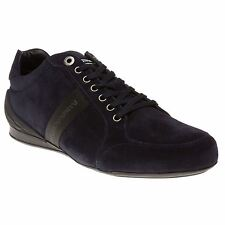 New Mens Emporio Armani Blue Formal Suede Trainers Statement Sneakers Lace Up