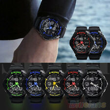 Mens Multi-Function Rubber Quartz Dial Digital Led Waterproof Wrist Watches BACU