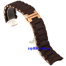 New 20 23mm Brown Silicone Stainless Steel Bracelet Watch Band Replacement Strap