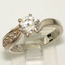 Sterling Silver EngagementClear Stone Ring Size  6.75 PI8