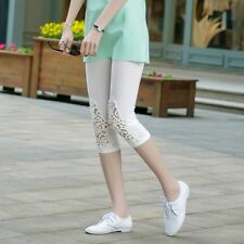 Summer Womens Girls 3/4 Length Lace Leggings Short Pants Tights Stretch 6 Colors