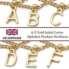 Gold A-Z Initial Letters Alphabet Pendant Necklaces {UK Seller}