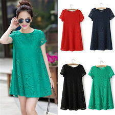 Women's Casual Short Sleeve Lace Club Cocktail Party Loose Princess Mini Dress
