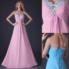 Chic Strapless Sexy Long Chiffon Evening Maxi Dress Cocktail Party Prom Gown JS