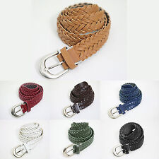New Mens Womens Braided Belts Faux Leather Weave Twisted Belts Metallic Harness