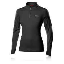 Asics Winter Womens Long Sleeve Half Zip Training Gym Running Sports Top Black