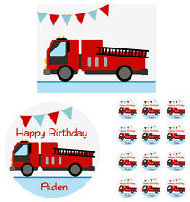 FIRE TRUCK ENGINE Edible Cake Topper Cupcake Decoration Birthday Party
