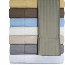 650 Thread Count Striped Sheet Sets, Cotton Blend Wrinkle Free 4PC Queen Sheets