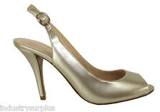 Enzo Angiolini MyKell Light Gold Open Toe Slingback High Heeled Pumps