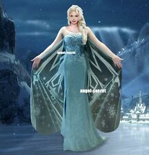 J737 Movies Frozen Snow Queen Elsa Cosplay Costume Deluxe palace dress tailor