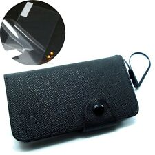 Black Flip Cover Pouch w/2 Card Slots + LCD for Samsung Cell Phone, Smartphone