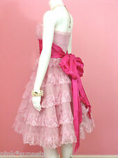 Betsey Johnson Evening Pink Tea Party Dress Party Prom Cocktail Wedding 2 4 6 8
