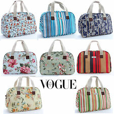 Ladies Owl Floral Stripe Weekender Holdall Oilcloth Holiday Tote Bag Gift Her