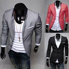 Korean Handsome Youth Men's Pure Slim Fit Long Sleeve Blazers Jackets