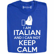 """I am Italian And I Can Not Keep Calm"""" World Cup Slogan T Shirts, All Colours"""