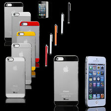 For iPhone 5 5S Ultra Thin Transparent Crystal Clear Hard PC Case Cover w/ Pen
