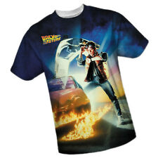 Back To The Future: Marty & Delorean All-Over Front Print Sports Fabric T-Shirt