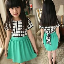 HOT Kids Girls Chiffon Fashion Plaids Dress Green Ball Prom Party Princess Dress