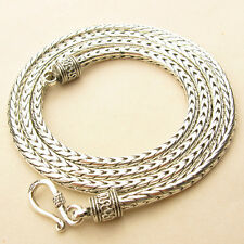 """4MM 925 STERLING SILVER EP BALI ROUND WHEAT CHAIN NECKLACE 18"""", 20"""" INCH"""