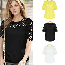 Womens Chiffon Lace Short Sleeve Crochet Crew Neck Casual T Shirt Blouse Top