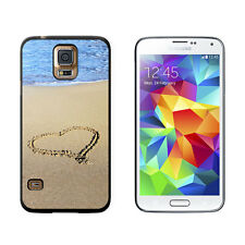 Heart in Sand by Ocean - Love Romantic - Protective Case for Samsung Galaxy S5