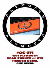 QG-271 1971 PLYMOUTH - ROAD RUNNER or GTX - HEADER PANEL DECAL