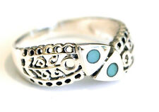 925 Sterling Silver Filigree Fish Ring Band - Size 6, 7, 8 or 9 Turquoise Stone