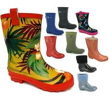WOMENS LADIES NEW WIDE CALF FITTING SHORT WELLIES RAIN SNOW WELLINGTON BOOTS