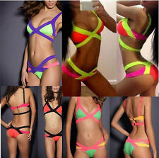 Women's Sexy Bandage Push up Bikini Set Striped Bra Beachwear Padded Swimwear