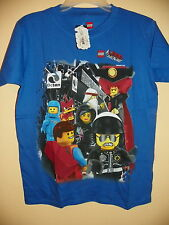THE LEGO MOVIE/7 CHARACTERS-BOYS SIZE 7/8-LICENSED SHORT SLEEVE-NWT-BLUE