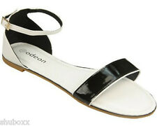 NEW WOMENS BLACK/WHITE NUDE/CORAL ANKLE STRAP ODEON LADIES FLAT SANDALS SHOES