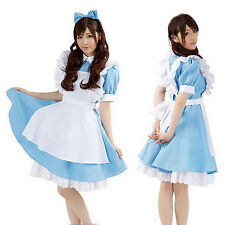 W8 Alice in Wonderland Sexy Cosplay Girl Lolita French Maid Costume Dress Blue
