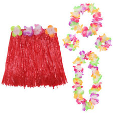 5 PC HULA SET LEI WRISTBANDS HEADBAND + RED HAWAIIAN GRASS SKIRT FANCY DRESS